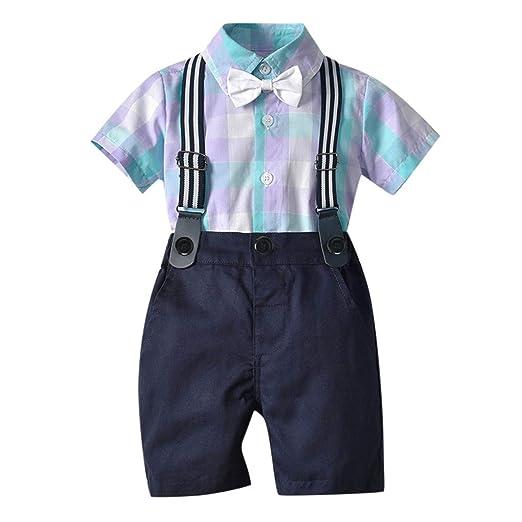 645d8a64 Amazon.com: Infant Boy Gentleman Suit, 2pcs Baby Kids Summer Short Sleeve  Bow Plaid Tie Shirt Suspenders Shorts Outfit Set: Kitchen & Dining