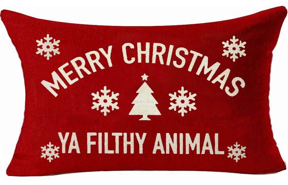 Red cotton pillow cover for holidays: Merry Christmas Ya Filthy Animal. #holidaydecor #pillows #whimsical #humor #homealone