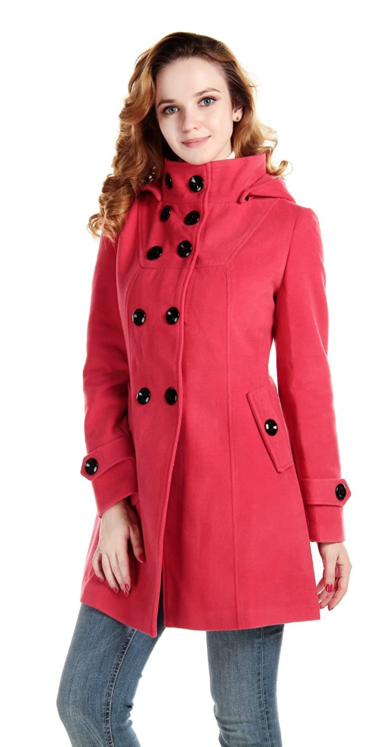 Simplicity® Double-Breasted Wool Blends Coat High Collar Hoodie, Rose Red L