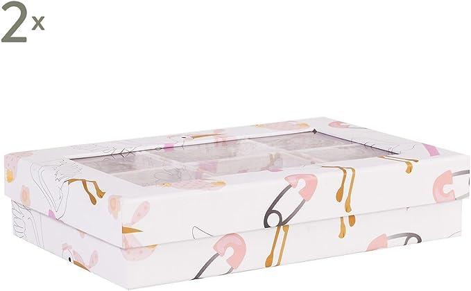 VilyS House-Set 2 Cajas Organizadoras 6 Departamentos con Ventana Cigüeña Rosa: Amazon.es: Hogar