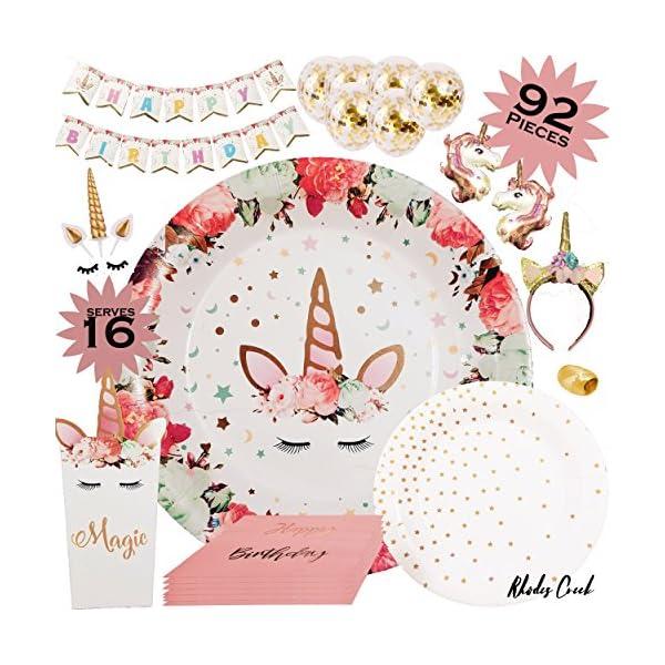 Unicornio suministros para fiesta de cumpleaños – Juego completo de unicornio para fiesta de cumpleaños, decoración para tartas de unicornio de 16.0in, platos de unicornio, bandejas de cumpleaños, globos de confeti, cajas de regalo para fiesta y más