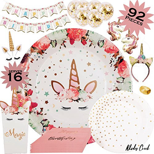 Unicorn Party Supplies | Complete Unicorn Birthday Party Set Serving 16 | Unicorn Cake Topper | Unicorn Headband | Unicorn Plates, Birthday Banner, Confetti Balloons, Party Favor Boxes and More