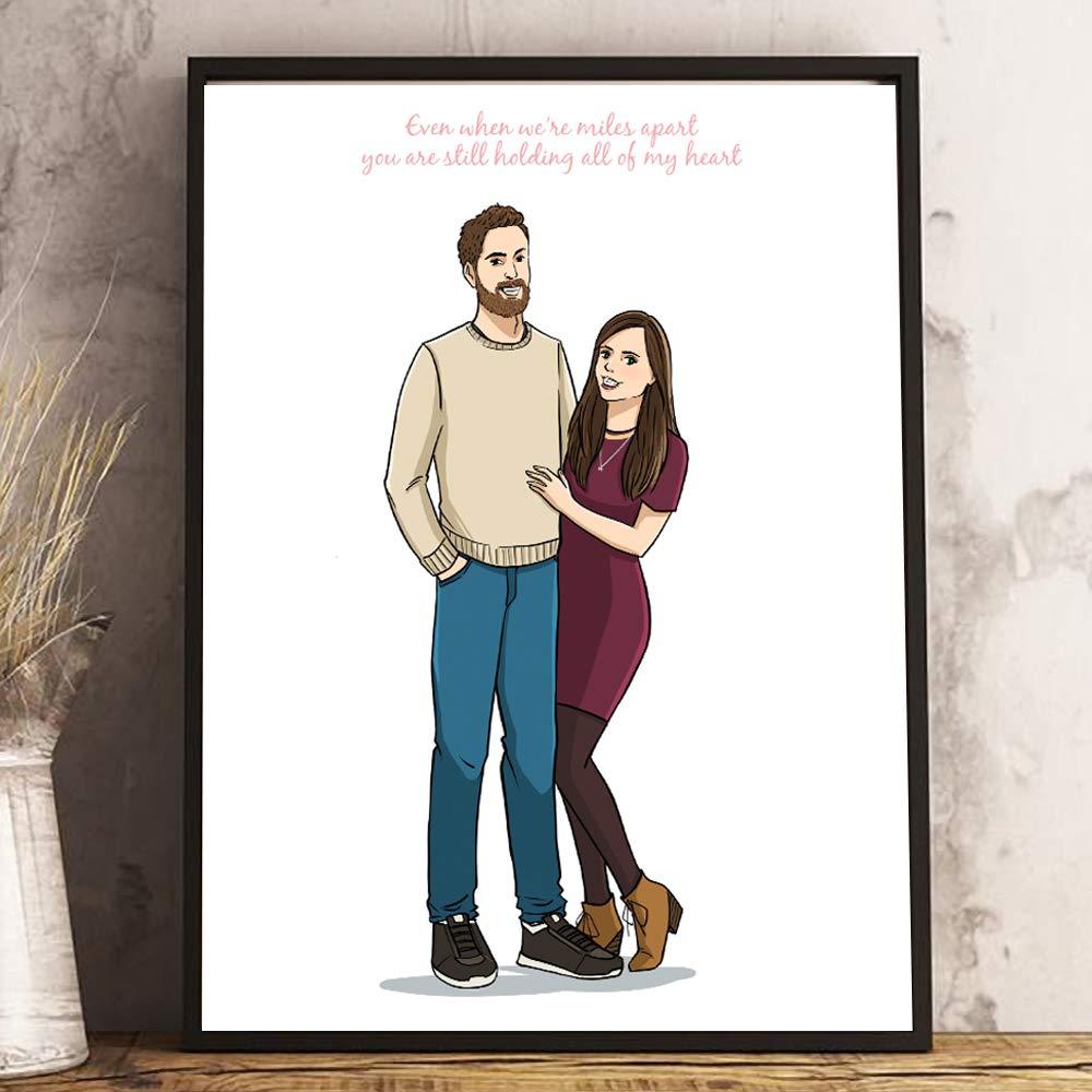 Custom Hand Drawn Couple Portrait - Sentimental Long Distance Relationship Gifts - Cute Thoughtful Ideas For Boyfriend