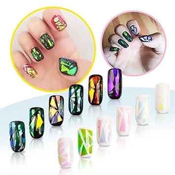 Ocibel – – Juego de 6 Nail Art efecto cristal roto – Glass Nail – Broken