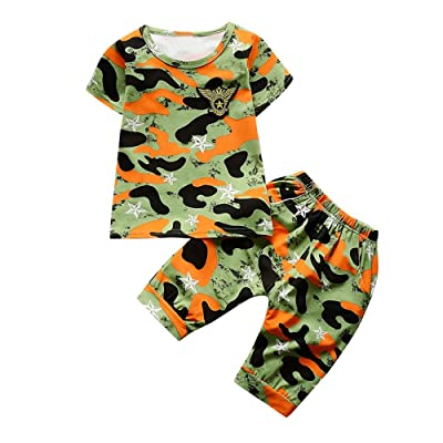 0-3 Years Old,Yamally_9R 2Pcs Clothes Set Newborn Kids Baby Boys Camouflage T Shirt Tops+Shorts