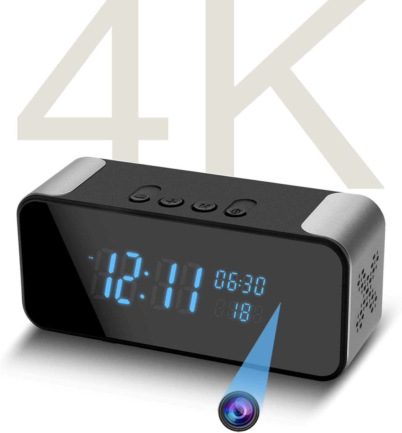 4K Hidden Spy Camera- Bluetooth Speaker- Alarm Clock, Wireless WiFi Pet/Baby/Nanny Camera, Motion Detection Alert, Remote Watching Live Streaming for Home/Office Indoor Monitoring - by Amzcev