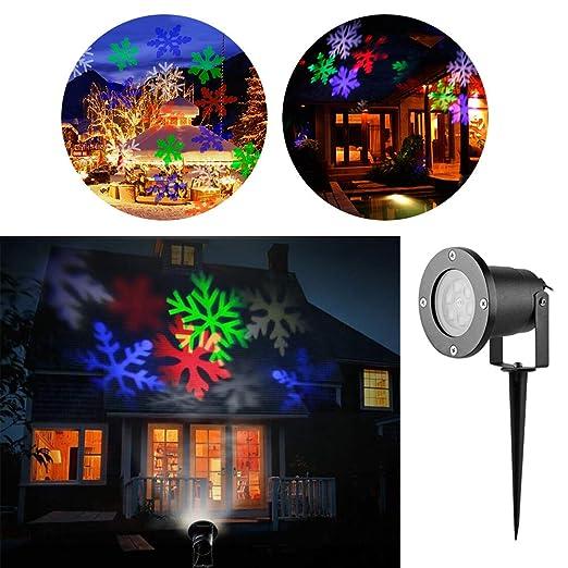 Proyector Navidad LED, Luz de Jardín Navidad RGB,LED Lámpara de Proyección Exterior Efectos de iluminación Temas Dinámicos, Decoración de pared, Luces ...