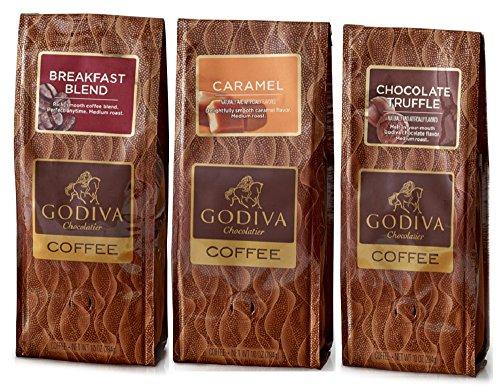 Godiva Chocolatier Coffee Set of 3, 10 Oz (Breakfast Blend Coffee, Caramel Coffee and Chocolate Truffle Coffee)