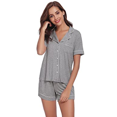 AChili Women s Pajamas Short Set Loungewear Short Sleeve Sleepwear ... b827ba7fc