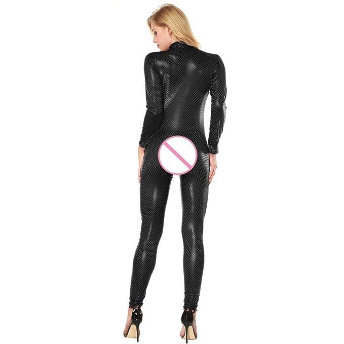 Babydoll Mujer Sexy LenceríA Lanskirt Body Pijamas Mujer Mono LenceríA Seductora de Cuero Artificial Entrepierna Abierta Body SiaméS Bodysuit Transparente ...