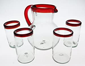 Mexican Glasses and matching pitcher, Red Rim, Red handle pitcher, hand blown, set of 5