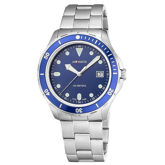 M WATCH Swiss Made Aqua Steel, Reloj de Hombre, Esfera Azul con indicador de Fecha, Agujas Luminosas, Acero Fino Sumergible: Amazon.es: Relojes