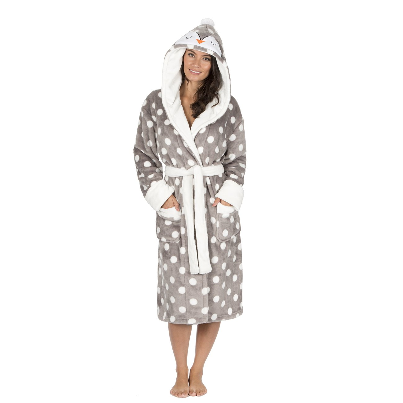 b4c4dae15 Ladies Christmas Spot Fleece Dressing Gowns with Animal Hood. Red Reindeer  or Grey Penguin. Sizes S M L XL