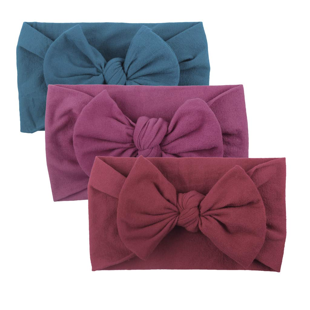 Baby Girls Turban Headband, Toddler Solid Color Hair Band, 3PCS Bow Knot Accessories Headwear