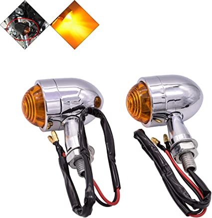 2Pcs Motorcycle Bike Silver Smoke Bullet Amber LED Turn Signals Indicator Lights