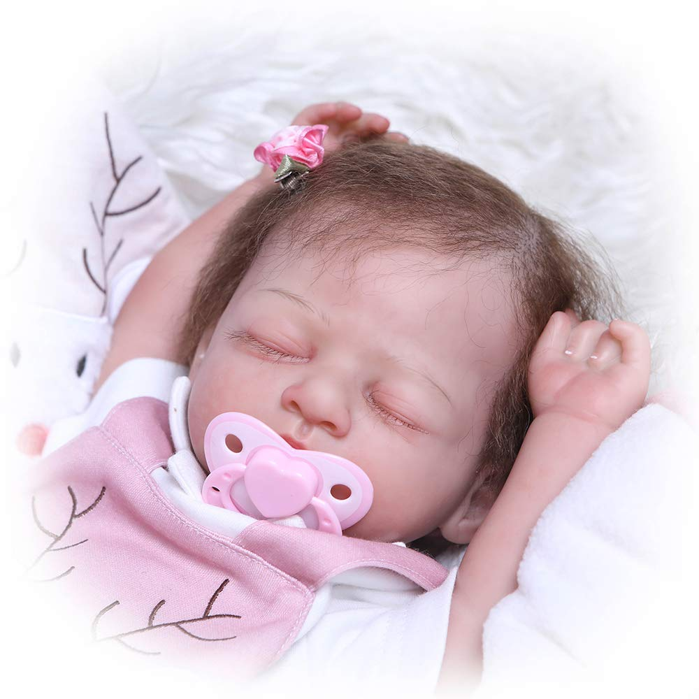 Icradle Pinky 20 Inch 50cm Sleeping Reborn Baby Girl Doll Soft Silicone Realistic Baby Weighted Body Toddler Doll for Age 3 Named Chris from NUER Collection