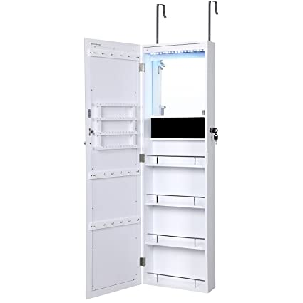 Charming SONGMICS LED Jewelry Cabinet Lockable Wall Door Mounted Makeup Armoire  Organizer With Mirror White