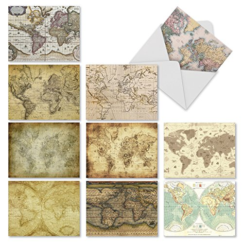 M3076 Map Quests: 10 Assorted Blank All-Occasion Fold Over Note Cards Feature Antique Maps, w/White Envelopes. (Map Note Card)