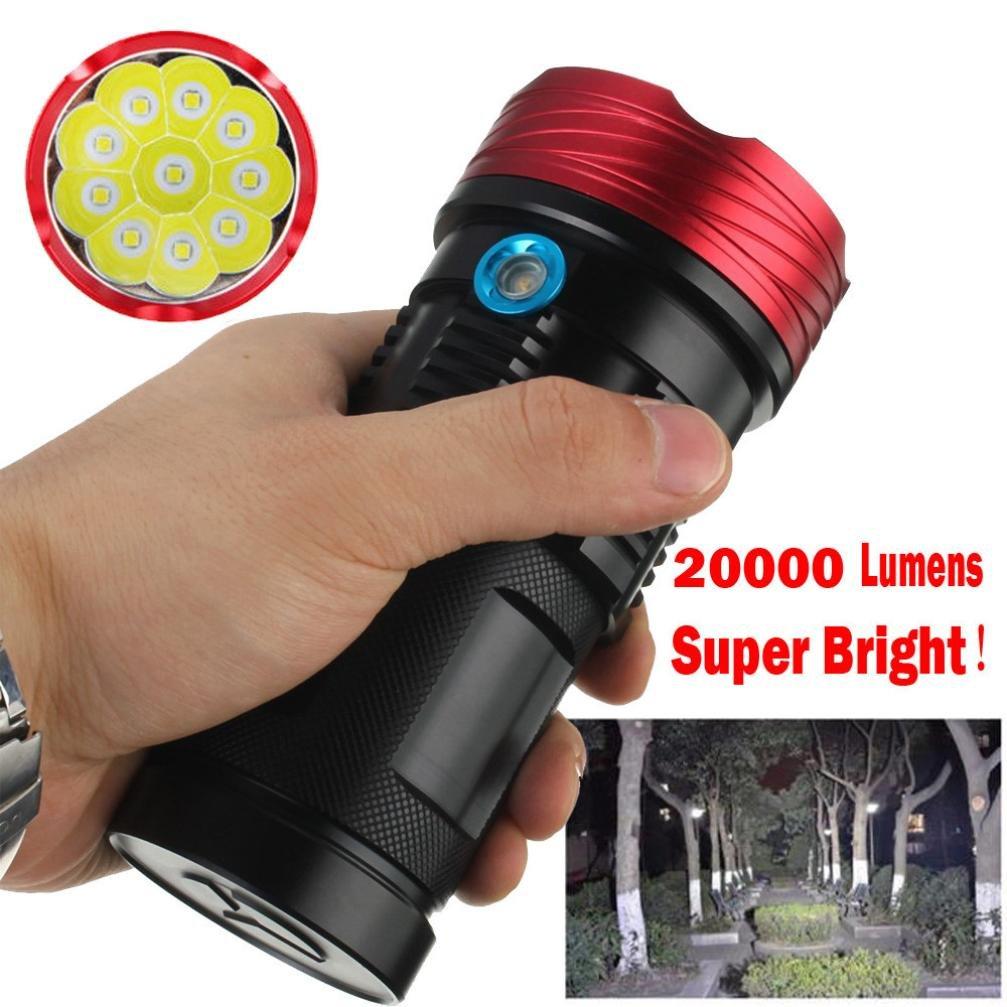 LCLrute Hohe Qualität 18000 Lumen 9x XML T6 LED Taschenlampe Tactical Jagd Arbeit Lampe