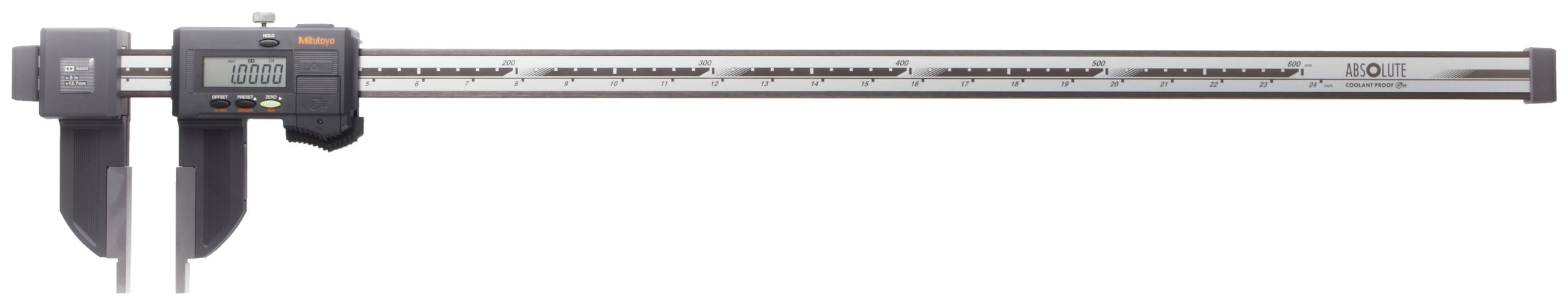Mitutoyo ABSOLUTE 552-313-10 Digital Caliper, Stainless Steel, Battery Powered, Inch/Metric, Nib Style Jaw, 0-24'' Range, +/-0.025'' Accuracy, 0.0005'' Resolution, Meets IP66 Specifications