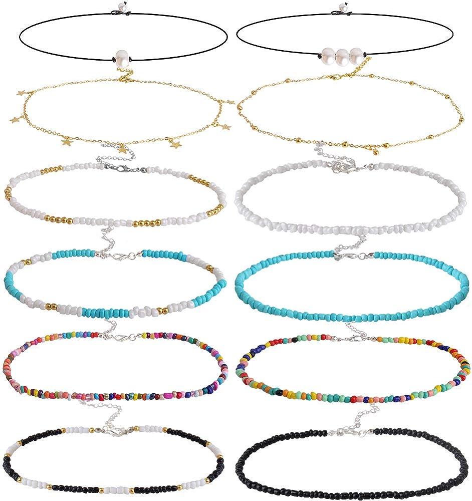 ONESING 12 Pcs Seed Bead Choker Necklace Colorful Bohemian Choker Necklace Handmade Summer Hawaii Tiny Beaded Choker Adjustable for Girls Women