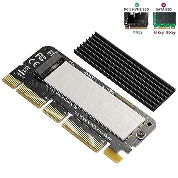 BEYIMEI NVME PCI Express 3.0 x16 en Tarjeta PCIe NVMe y Tarjeta AHCI SSD con disipador de Calor, Adecuado para Factor de Forma M.2 (NGFF) con Clave M ...