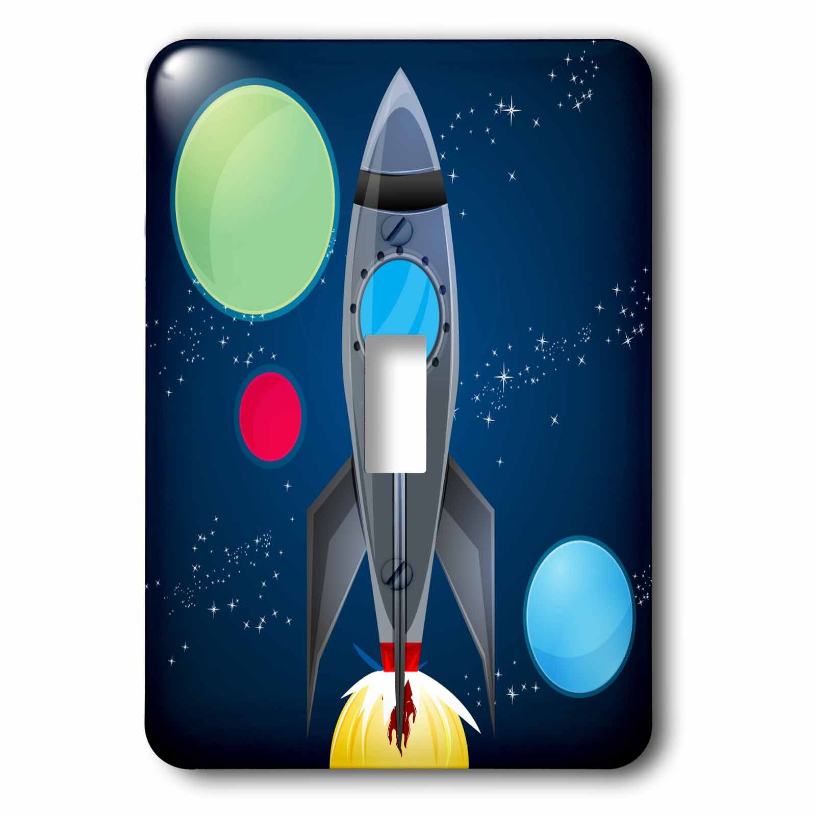 3dRose LLC lsp_111577_1 Boys Rocket Ship with Planets Design On A Dark Blue Background Single Toggle Switch