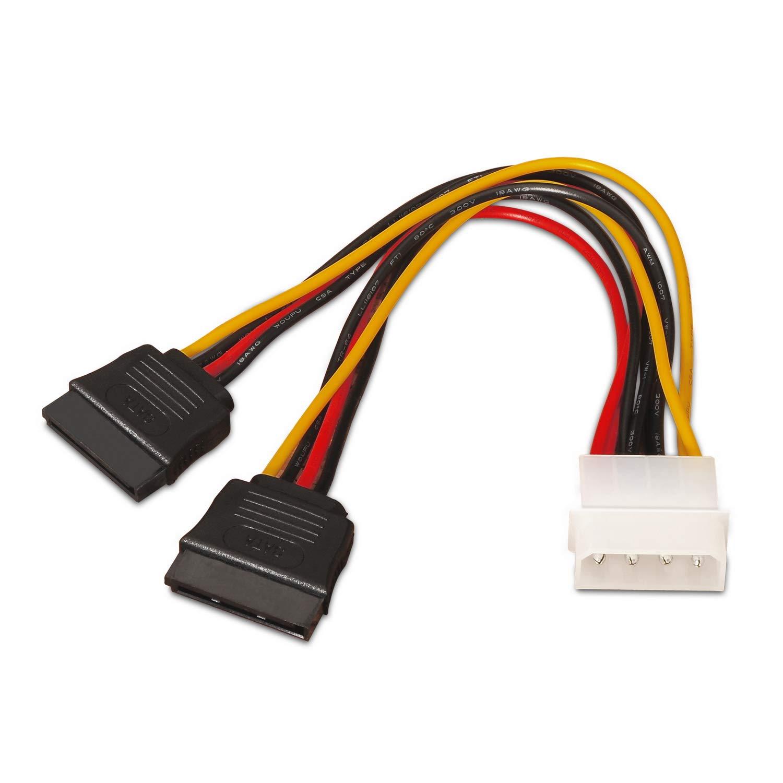 AISENS A131-0161–Câble d'alimentation SATA (connecteur Molex 4Broches mâle vers 2connecteurs SATA Femelles, 20cm)-Noir