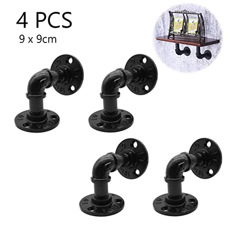 Home Improvement 2pcs Industrial Black Iron Pipe Bracket Wall Mounted Floating Shelf Hanging Wall Hardware Decor For Farmhouse Shelving Hardware Complete In Specifications Bathroom Fixtures