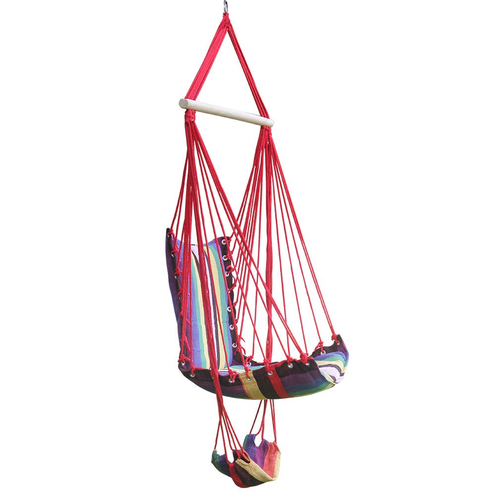 Hi Suyi New Lounging Hanging Rope Hammock Swing Chair for Indoor or Outdoor Garden Patio Yard Bedroom With Foot Rest and Wooden Bar By