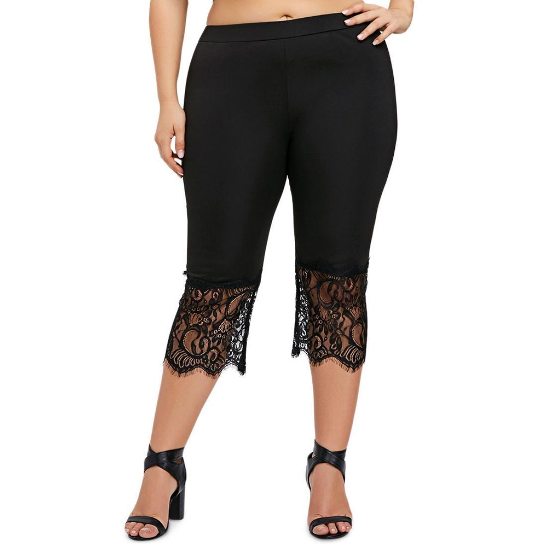 Plus Size Women Pants, Neartime Hot Sale Casual Lace Calf-Length Pants Loose Solid Color Sweatpants Yoga Wide Leg Pants (5XL, Black)