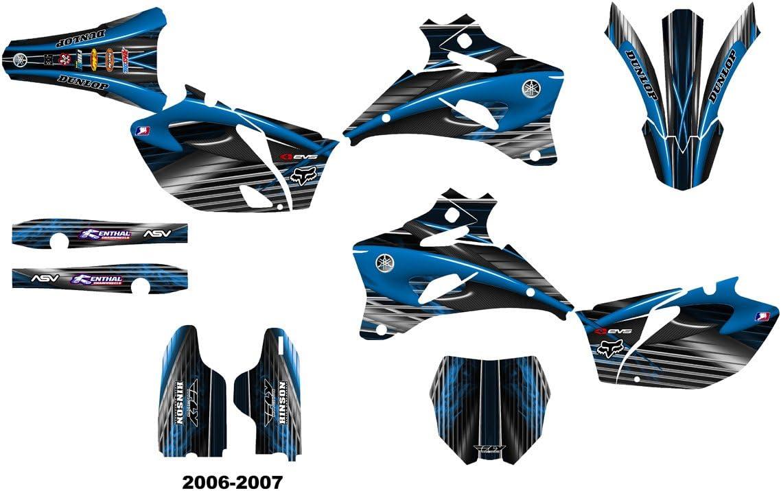 Yamaha YZ250F YZ450F 2006-2007 Dirt Bike Graphics Decal Kit by Allmotorgraphics NO3333 Blue