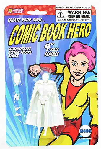 "Spherewerx Create Your Own Comic Book Hero Standard Female Customizing Blank 4"" Action Figure"