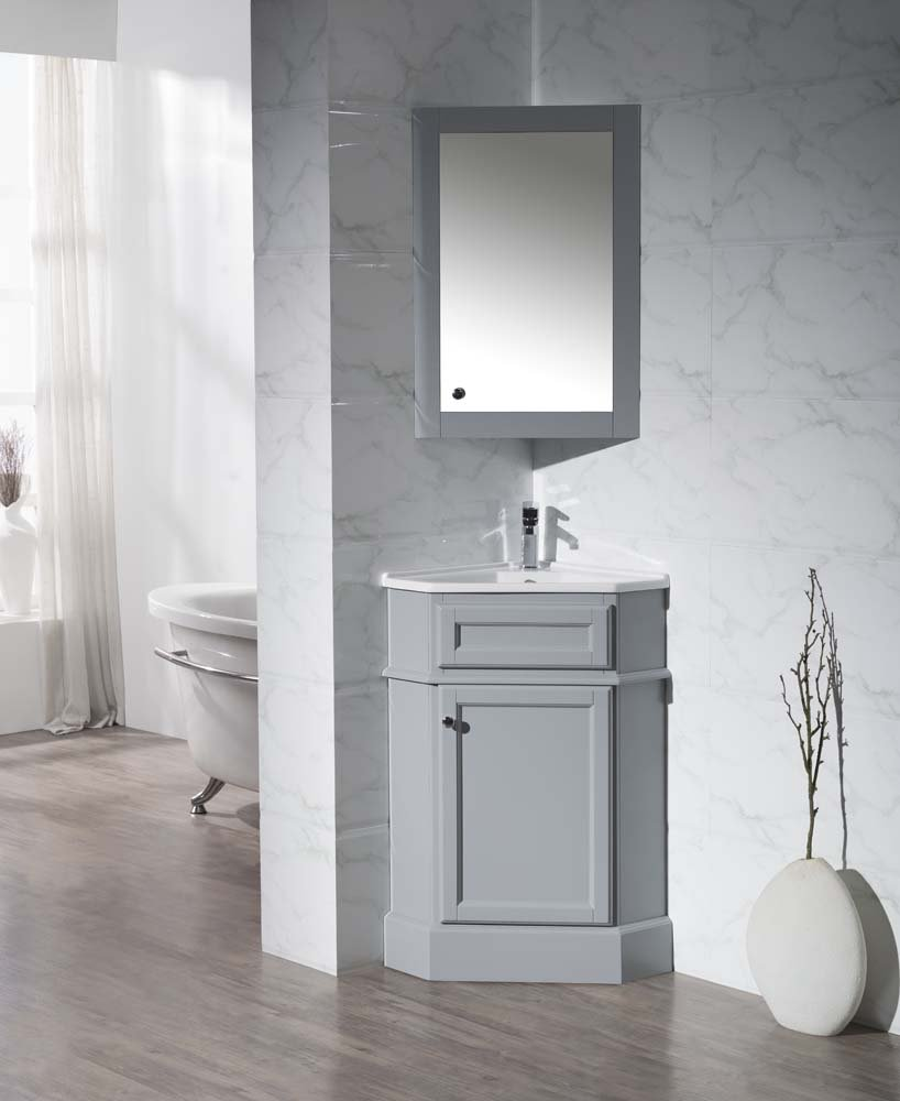 Stufurhome TY-415GY Modern H&ton Corner Bathroom Vanity with Medicine Cabinet Grey 27  - - Amazon.com & Stufurhome TY-415GY Modern Hampton Corner Bathroom Vanity with ...