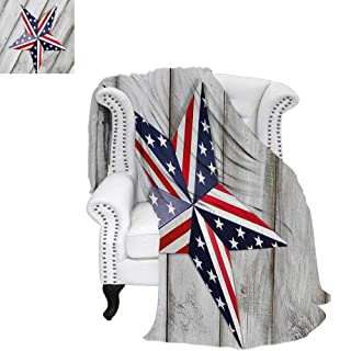 WilliamsDecor 4th of July Custom Design Cozy Flannel Blanket Sketch Style Soldier Holding The Old Glory Independence Day Themed Illustration Blanket 70'x60' Multicolor