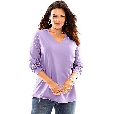 38de7f28b61 Roamans Women s Plus Size Ultimate V-Neck Long-Sleeve Tee - Bright Lilac