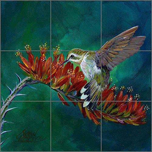 """Hummingbird Art Ceramic Tile Mural Backsplash - Desert Nectar by Susan Libby (18"""" x 18"""" - 6"""" Tiles)"""