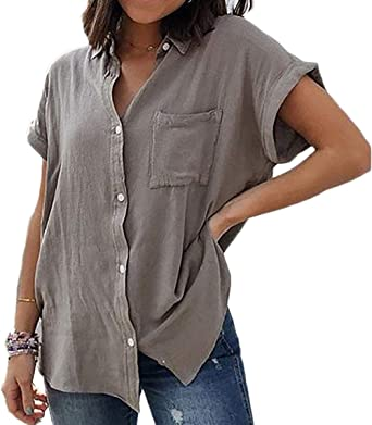 Camisas Abotonadas De Verano para Mujer Bolsillo con Capucha ...