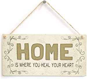 WEIMEILD Home is Where You heal Your Heart - Beautiful Welcome Home Accessory Gift Sign 10