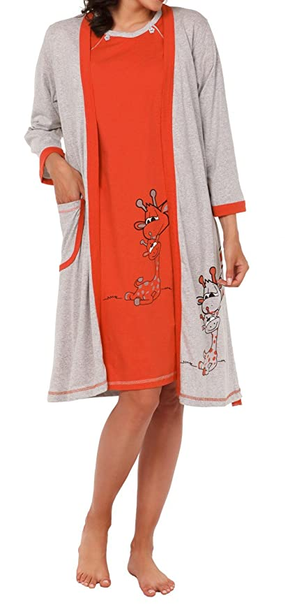 Happy Mama Womens Maternity Hospital Gown Robe Nightie Set Labour ...