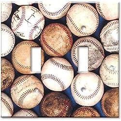 Double Gang Toggle Wall Plate - Sports: Old Baseballs