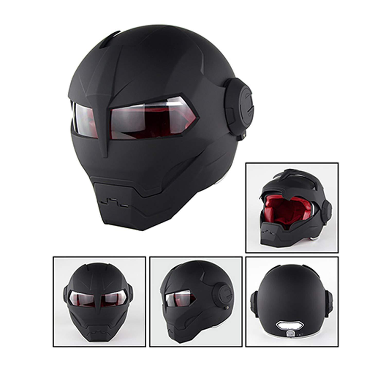 Iron Man Transformers Leuchtend schwarz//matt schwarz,Brightblack,M WeeLion Retro-Motorradhelm DOT-zertifizierter Clamshell-Motocross-Helm f/ür Herren und Damen M, L, XL