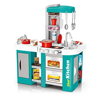 Children Kitchen Playset, Pretend Play Kitchen Sets for Kids, Kitchen Play kit with All The Sights And Simulated Real Water, Spray, Light, Sound,best gift for Boys and Girls (Green): Kitchen & Dining