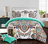 Chic Home 8 Piece Raypur Reversible Boho-Inspired Print and Contemporary Geometric Patterned Technique Queen Bed in a Bag Comforter Set Aqua