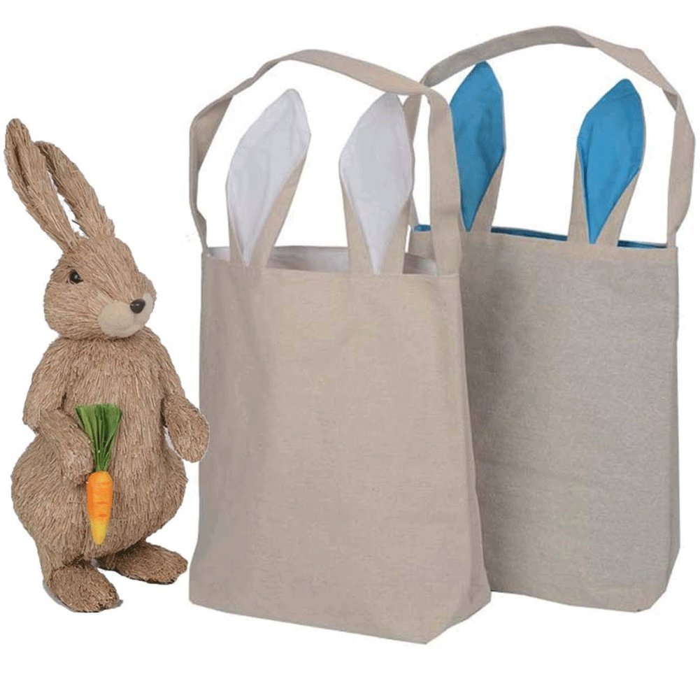 Easter Bunny Bag, Cotton Cloth Bag Gift Bag Bunny Ears Design Easter Basket Tote Handbag Blank Bag for Party Favor Gifts DIY Use, 2 PCS