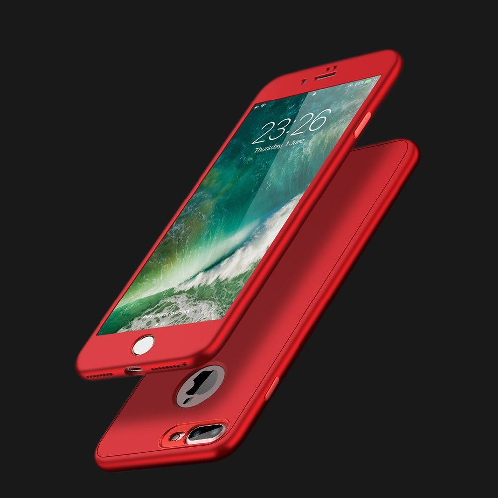 Povono Kompatibel mit H/ülle iPhone 6 6S 360 Grad Handyh/üllen mit Panzerglas Schutzfolie Vorne und Hinten Full-Body Schutz Case 3 in 1 TPU Silikon Schutzh/ülle Thin Fit Case,EINWEG Verpackung