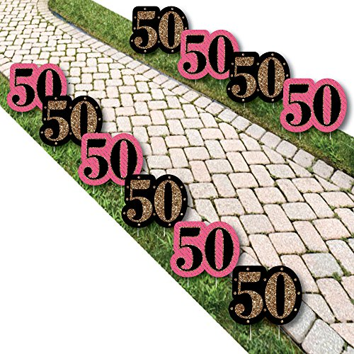 Chic 50th Birthday - Pink, Black and Gold Lawn Decorations - Outdoor Birthday Party Yard Decorations - 10 Piece
