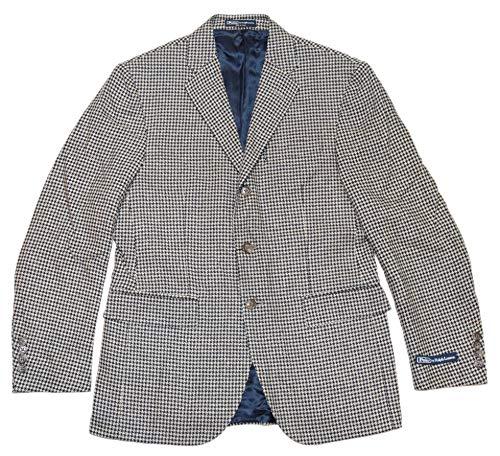 - Ralph Lauren Polo Mens Houndstooth Blazer Jacket Silk Navy Cream Italy 42L