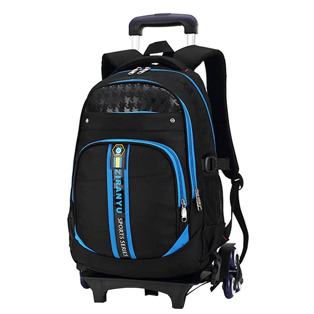 ZEVONDA Garçon Sac à Dos avec roulettes Trolley Bag Rentrée Scolaire Cartable Roulette Bagages Loisir Voyage, Bleu
