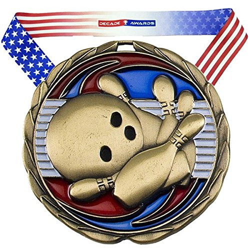 Decade Awards Bowling Color Medal, Gold - 2.5 Inch Wide First Place Tournament Medallion with Stars and Stripes American Flag V Neck Ribbon (Ball Personalized Bowling)
